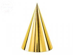 Czapeczki urodzinowe złote  10 cm 6szt