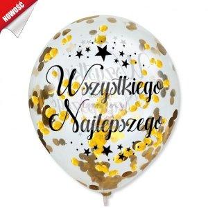 Balony przeźroczyste z konteffi złotym Wszystkiego