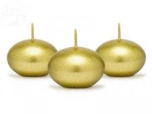 Świeca dysk pływająca metalik złota 40mm. 1szt