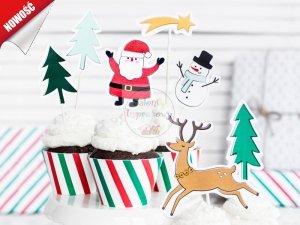 Topper na tort lub babeczki Merry Xmas