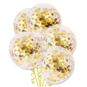 Balony przeźroczyste ze złotym konfetti 1 szt