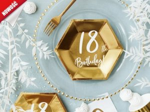 Talerzyki 18th Birthday złote 20 cm - 6szt