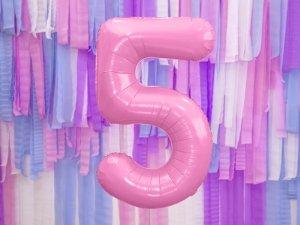 Balon foliowy cyfra 5 różowa - 86 cm