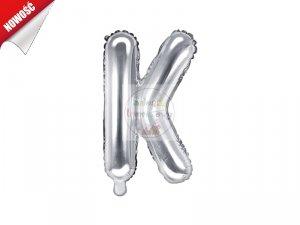 Balon foliowy Litera K 35 cm srebrny