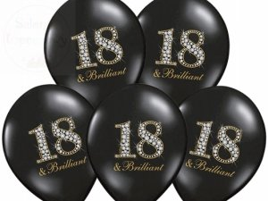 Balony 14 cali pastel czarne 18 & brilliant -1sz
