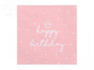 Serwetki 3 warstw. 33x33cm Happy Birthday różowe