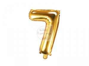 Balon foliowy Cyfra 7 - 35 cm złoty