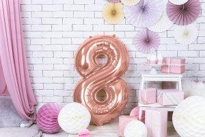 Balon foliowy cyfra 8 różowe złoto - 86 cm