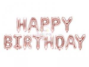 Balon foliowy Happy Birthday rózowe złoto 340x35cm