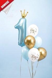 Balony białe ze złotym napisem One