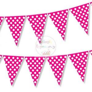 Chorągiewki, flagi 2 mb różowe w białe kropeczki