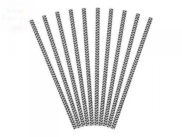 Słomki papierowe czarne wzorek  10 szt