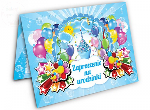 """Zaproszenie na urodzinki z niebieską   """"BABECZKĄ"""""""