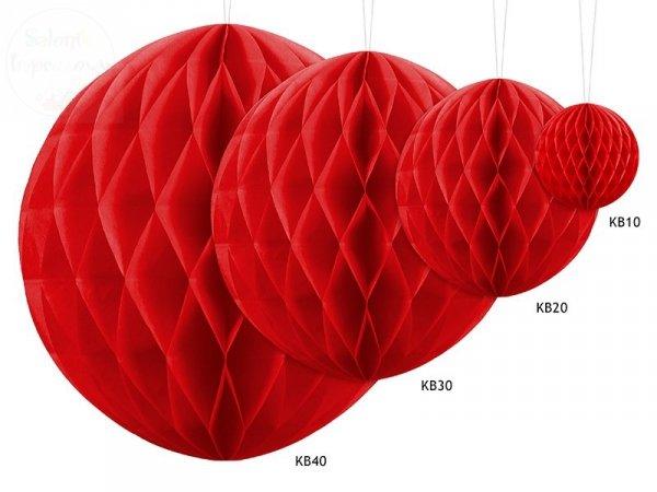 Kula bibułowa czerwona 30 cm