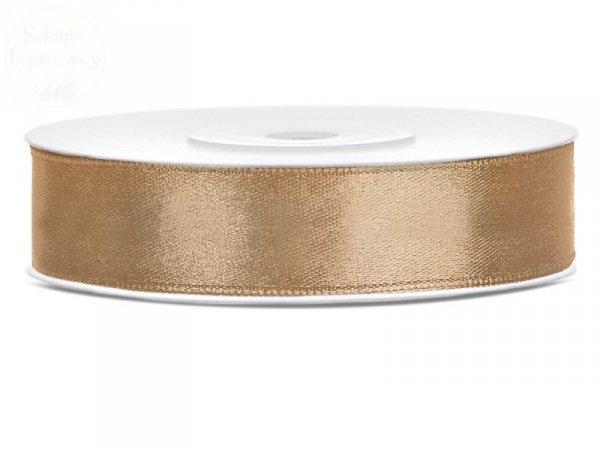 Tasiemka satynowa j. złoto 12mm x 25m