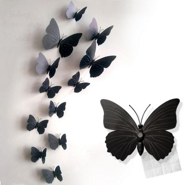 Motylki dekoracyjne 3D 12 szt czarne
