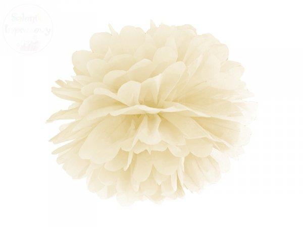 Pompon bibułowy kremowy 35cm 1szt