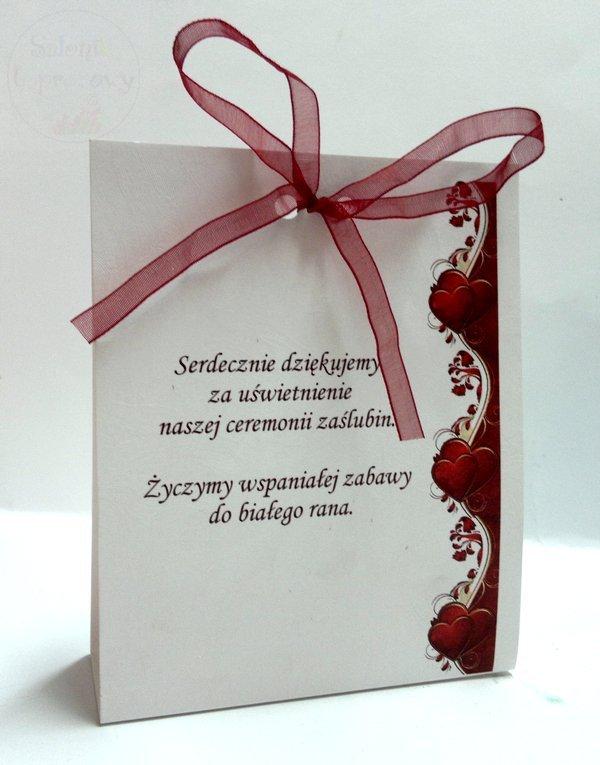 Winietki, wizytówki na okrągłe stoły Serca bordoo
