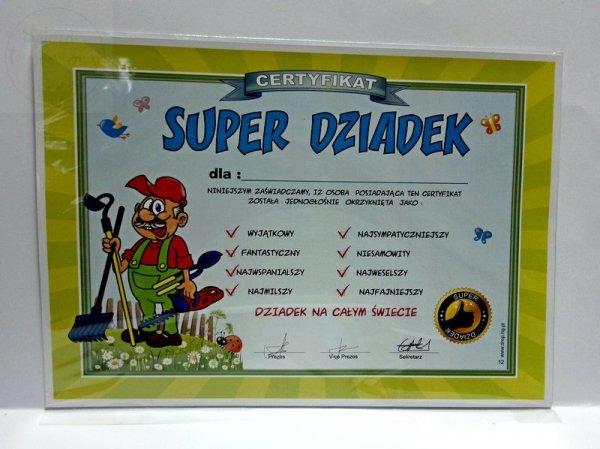 """Certyfikat, dyplom dla SUPER DZIADEK """"OGRODNIK"""""""