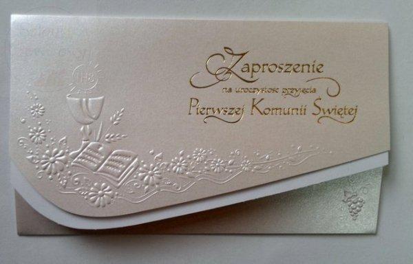 Perłowe zaproszenie komunijne 1szt ZZ05K-1139
