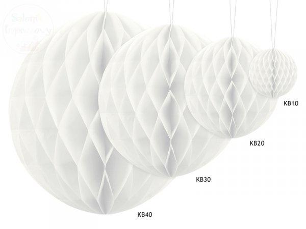 Kula bibułowa  biała 20 cm  -1szt