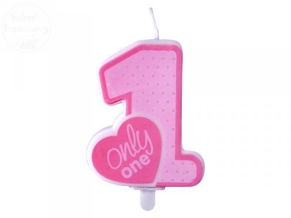 Świeczka urodzinowa cyferka Only One różowa 1szt