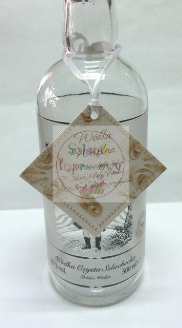 Zawieszki na wódkę weselną z białą tasiemką