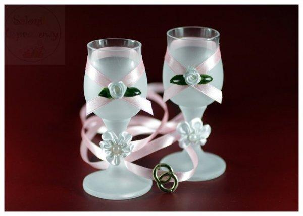 Kileliszki do wódki szronione 2 szt jasno różowe