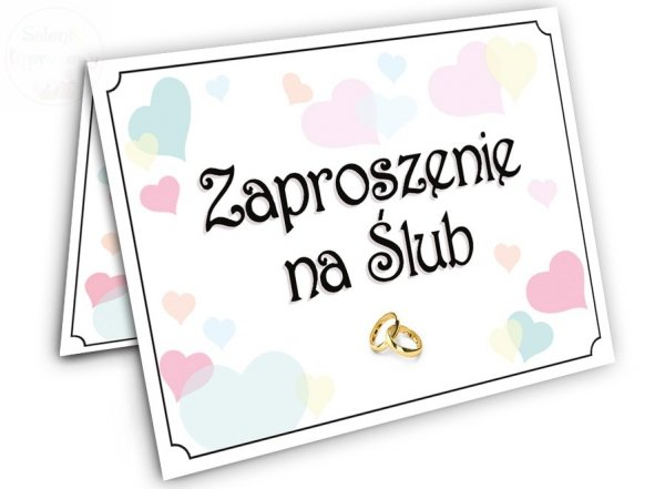 """Zaproszenie na Ślub """" Kolorowe Serduszka"""" - 1szt"""
