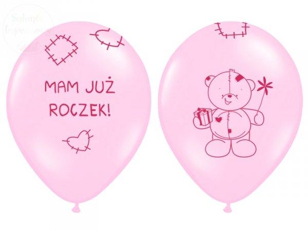 """Balony 14cali różowe """"Miś - mam już roczek"""""""