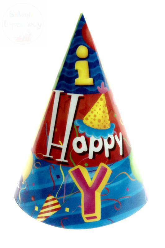 Czapeczki urodzinowe zielone HAPPY BIRTHDAY 1 szt