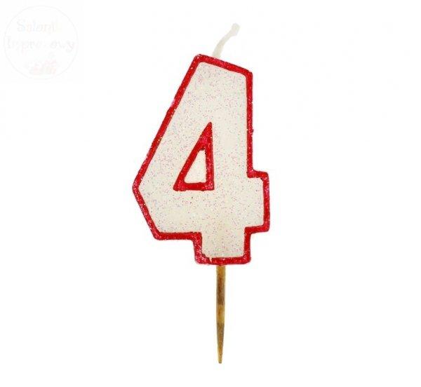 """Świeczka cyferka """"4"""" czerwony kontur z brokatem"""