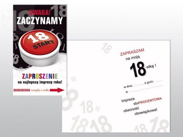 """Zaproszenie urodzinowe na 18-stkę """"Start"""" 1szt"""