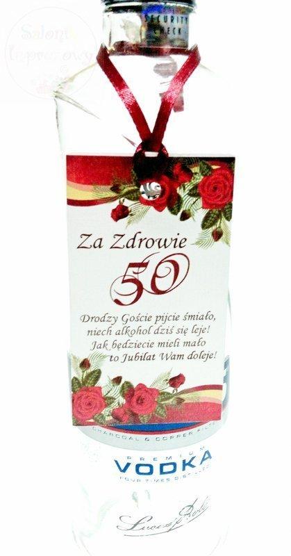 Zawieszka na 50 Urodziny  bordową tasiemką 18szt