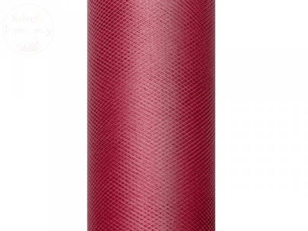 Tiul na szpulce  15cm x 9 m bordowy