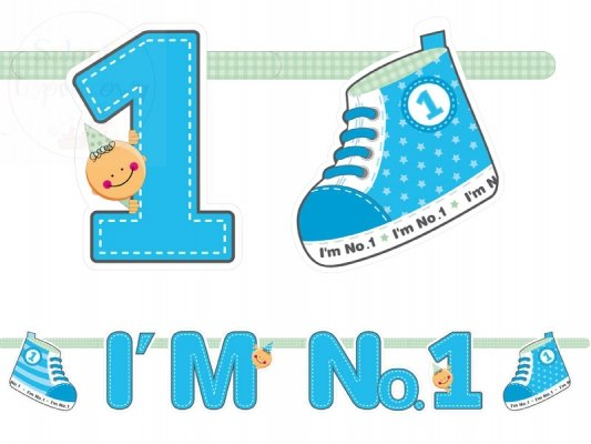 """Baner urodzinowy """"I`m No. 1"""" niebieski GRL10/B"""