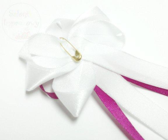Drużbówka biała z fuksjową kokardką 1szt