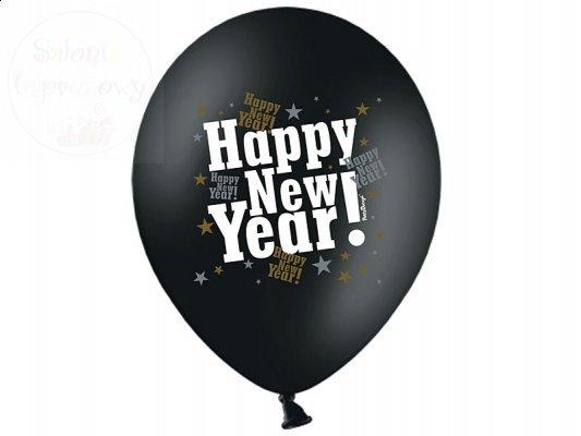 Balony czarne pastel z nadrukiem HAPPY NEW YAEAR