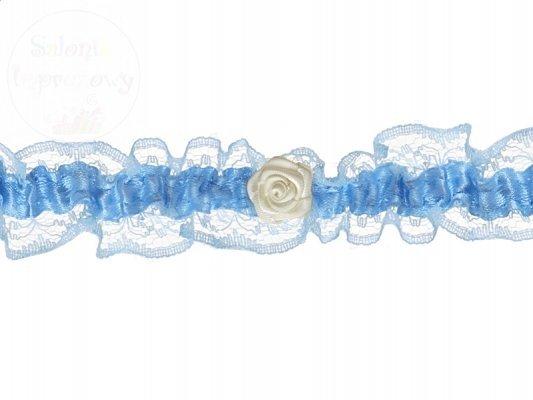 Podwiązka koronkowa z różyczką, błękitna PDW13