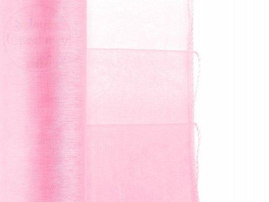 Organza obszywana w kolorze różowym 0,38 x 9 m