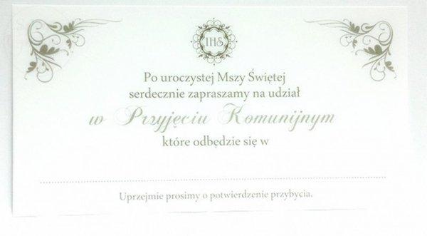 """Zaproszenie na I Komunię Świętą """" WINOGRON """""""