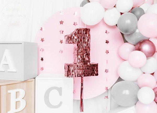 Piniata urodzinowa na Roczek CYFRA 1 różowe złoto