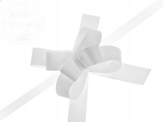 Wstążka sciągana 2cm, kokardki biała - WSC2-008