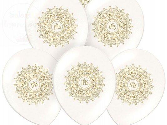 Balony 14 cali metalik białe z nadrukiem IHS -1szt