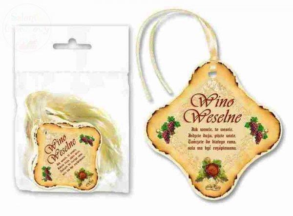 Zawieszki na wino weselne z kremową tasiemką 1szt