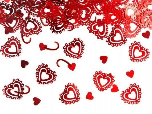 Konfetti metalizowane czerwone serca 15g KONS34-00