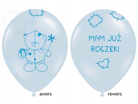 """Balony błękitne """"Miś - mam już roczek"""" 1szt"""