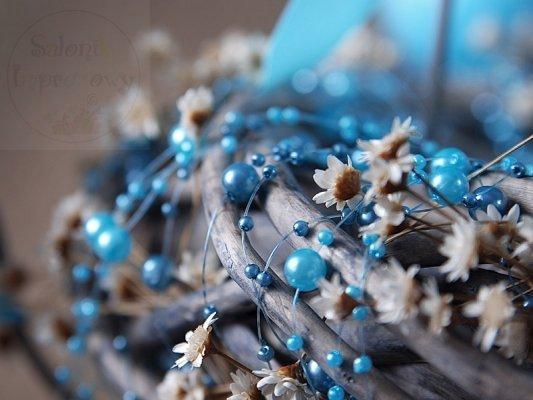 Girlanda perłowa kolor błękitny1,3m 5szt GP15