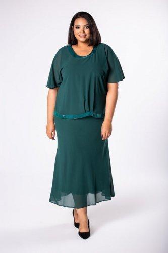 dopasowana sukienka maxi z tiulową narzutką i brokatową lamówką przy dekolcie