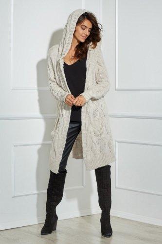 długi sweter z kapturem i ozdobnym splotem